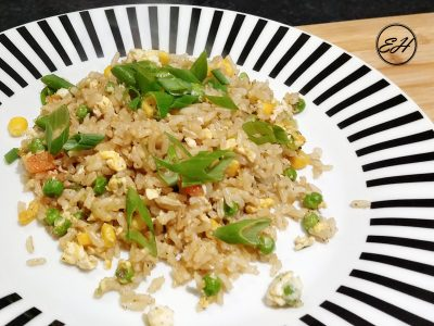 Fried rice with eggs, peas and sweet corn